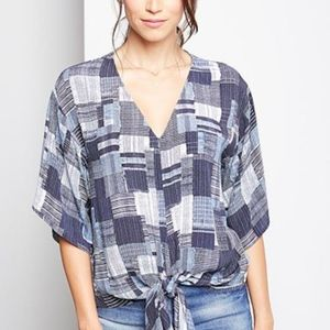 New Patchwork-print Tie-front Blouse